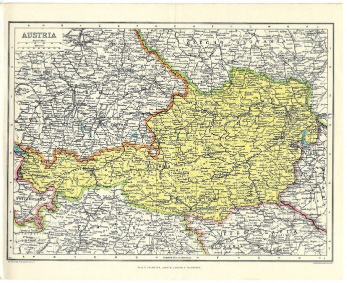 1920 Antique Map AUSTRIA by JOHN BARTHOLOMEW Europe